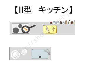 II型キッチンの構図のイメージ