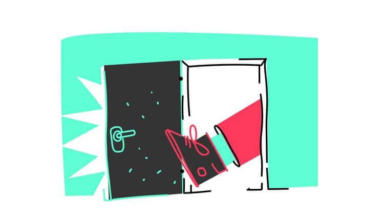 ドアの原則に足